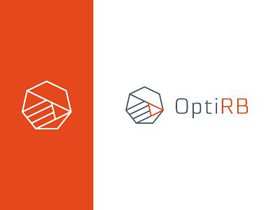 OptiRB – logo statistical analysis big data mining arrow stroke linear triangle heptagon logo design