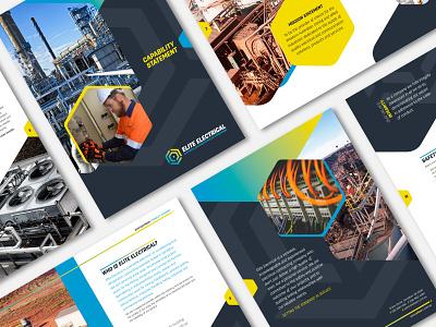 Elite Electrical – brochure design gradient hexagon electrical engineering brochure design brand identity design