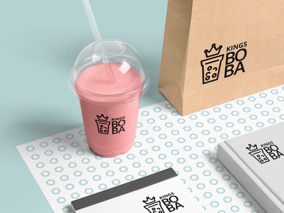 Kings Boba Logo Design graphic design design drink logo logo idea logo minimalist logodesign logo