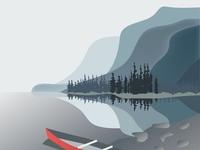 Lake Illustration on Winter