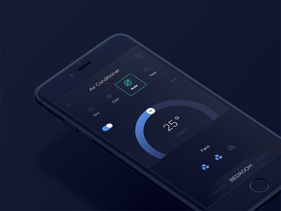 Smart Home - Air Conditioner Controller  controller air condition clean ux ui minimal black app home control smart home
