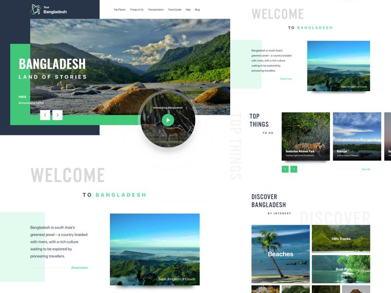 Tourism Website creative interaction typography ux ui bangladesh travel tourism website