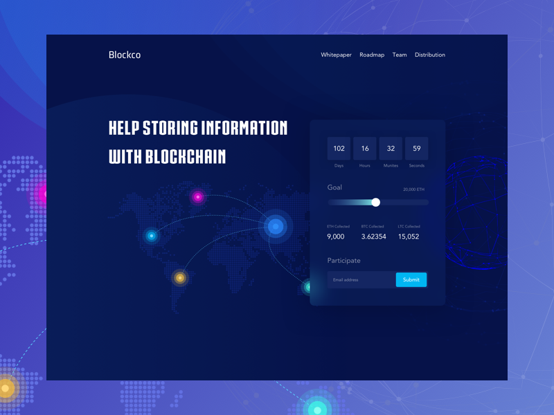 ICO website Header ux ui typography interaction isometric  illustration design crowdfunding website design cryptocoin ico crypto currency blockchain