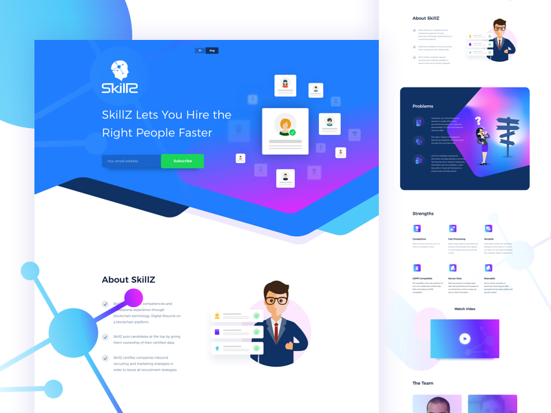 SkillZ - Blockchain Based HR Platform hr human resource ux ui typography interaction design crowdfunding website design ico crypto currency blockchain