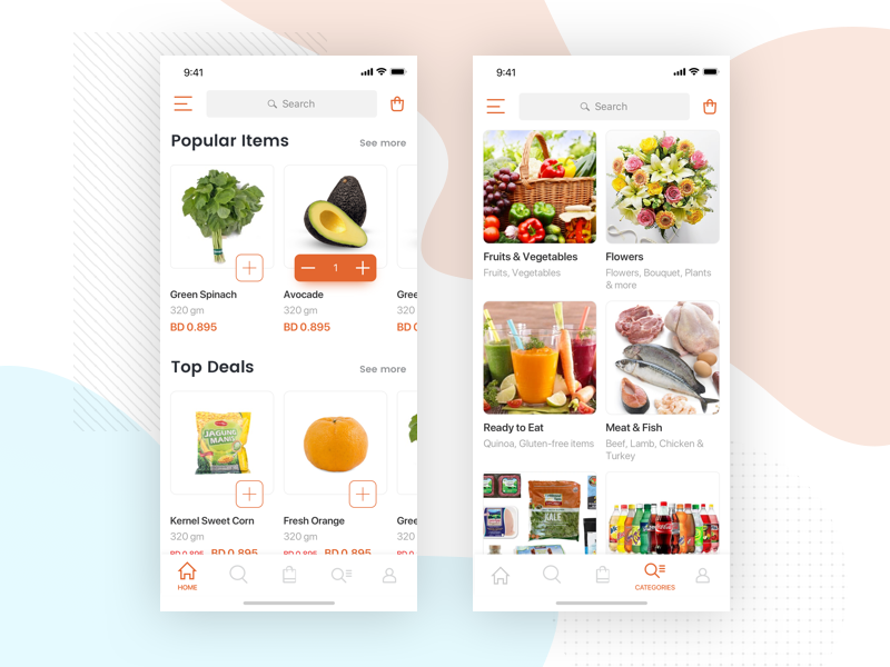 Grocery Delivery App food home delivery app grocery illustration ios app design ux ui