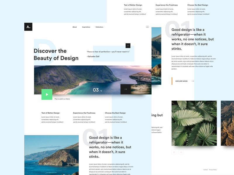 Exploration: Discover the Beauty of Design web design website web landing page typography minimal interaction clean design ux ui