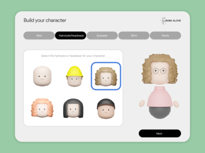 3D Library - Build your character 3d character 3d library risk design ux ui gamification game avatars character blender sketch