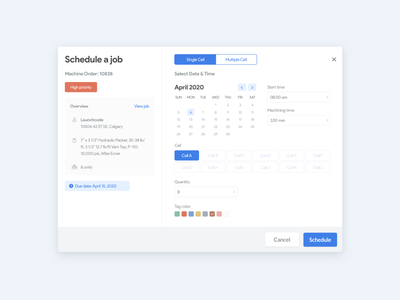 Scheduling a job 🗓 web app design react web application interface date clean ui calendar job web responsive design sketch ux ui scheduling schedule modal web app web design web