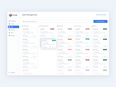 Kanban Board ☑️ job management job board job clean ui web app design minimal flat responsive manufacture process board sketch design web app web design web ux ui kanban board kanban