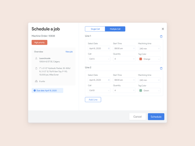 Scheduling a job 📆 web app design web app web sketch ux ui clean ui flat planning popup modal job board jobs job calendar ui day calendar scheduling scheduler schedule
