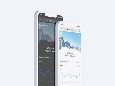 Mobile Dashboard bank app mountains light mode financial fintech charts dashboard ui dashboad dark ui dark mode ios minimal mobile app clean mobile app design ux ui sketch
