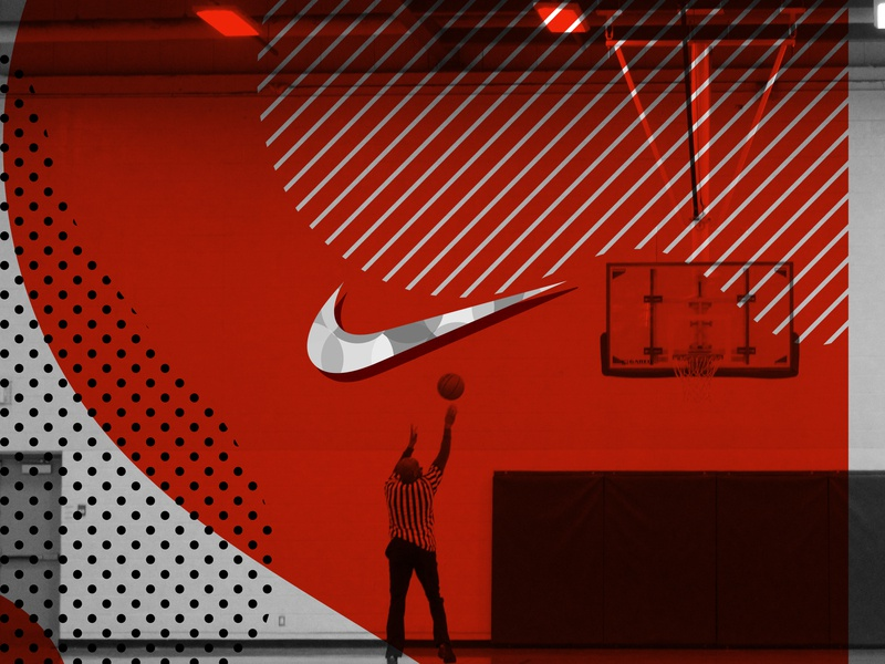 Cause refs like to shoot hoops too. dots lines black red sports referee basketball court nike air