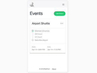 Event Index ticketing travel admin event card index