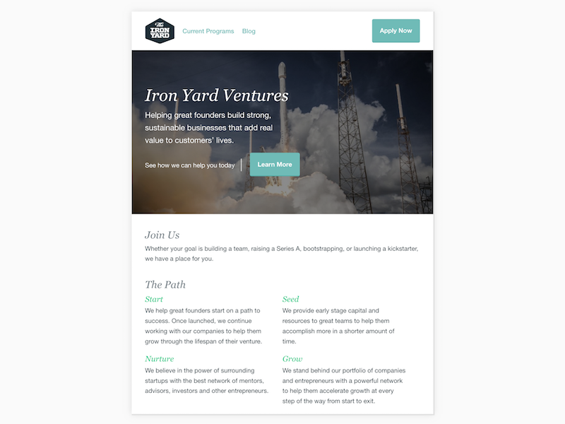 Iron Yard Ventures hero layout simple landing page homepage