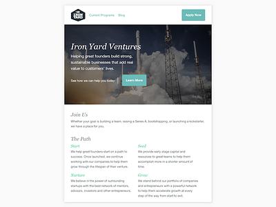 Iron Yard Ventures hero layout simple landing page homepage