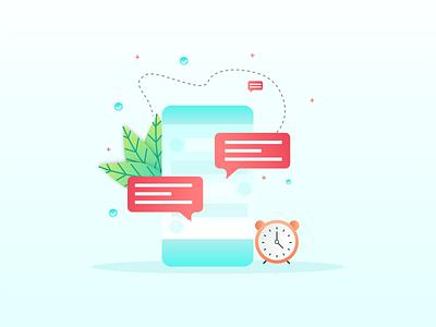 Chat application illustration minimal mobile web vector illustration