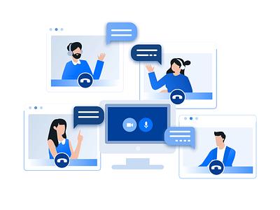 Video conference ui website minimal design vector illustration