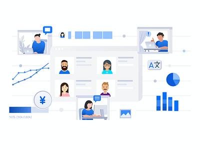 Project management/Team Management illustration sketchapp ui website design vector illustration
