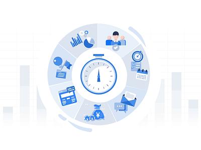 Time tracking ux ui website minimal web design vector illustration