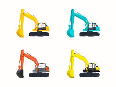 Excavators app website design vector illustration