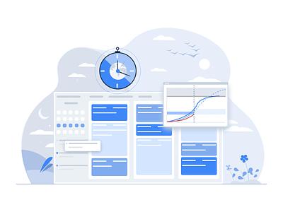 Time Tracking Calendar flat sketchapp ui web ux website minimal design vector illustration