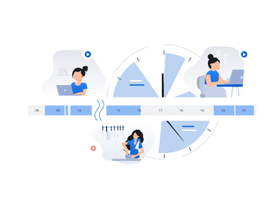 flexible time tracking ux flat website minimal design illustration