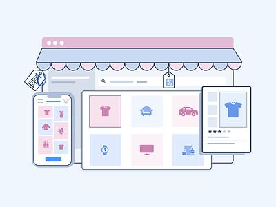 Online Shopping Store minimal vector design illustration