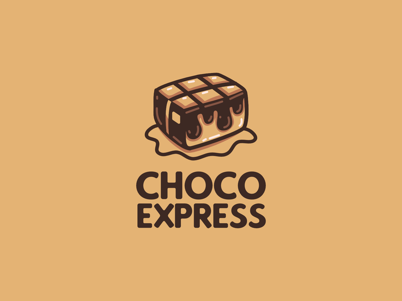 Choco Express | Logo Designs for chocolate subscription brand branding brand logo playful logo playful logo concept logo design choco chocolate packaging flat mascot logo character logo package chocolate logo chocolate bar chocolate vector logo design handdraw illustration