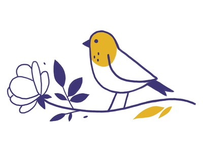 rose and sparrow fly art nature plants leaves bird logo lovely cute bird illustration sparrow rose violet lila yellow lines bird