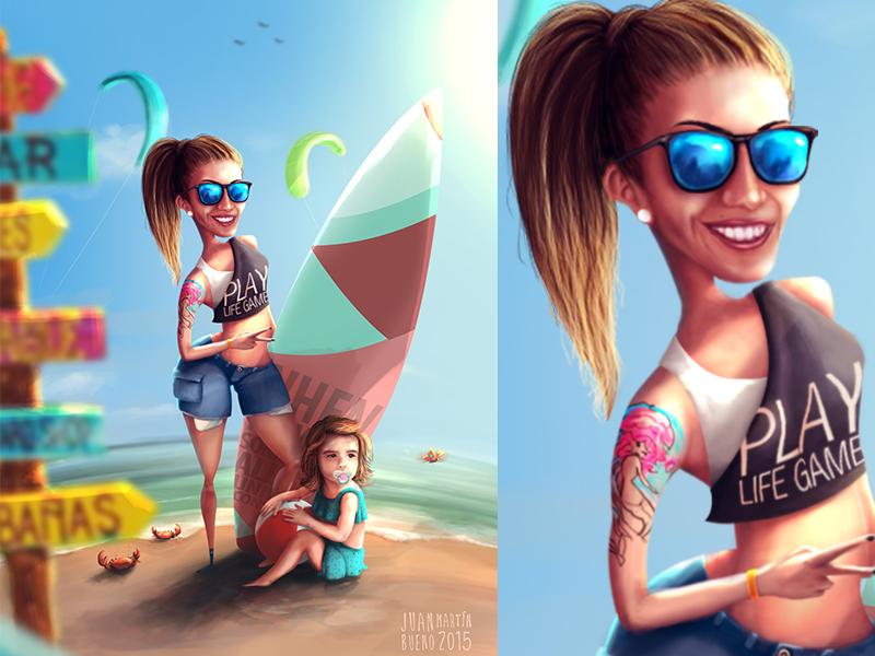 Dibujos De Juan Martin Bueno sufrfer mom mama playa beach surfer