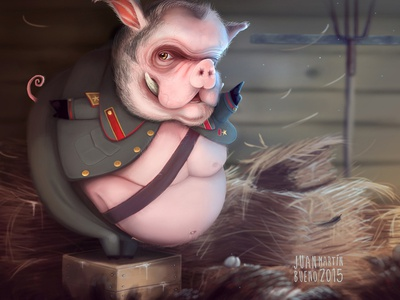 Pig Rebel rebel farm rebel pig charcater draws photoshop