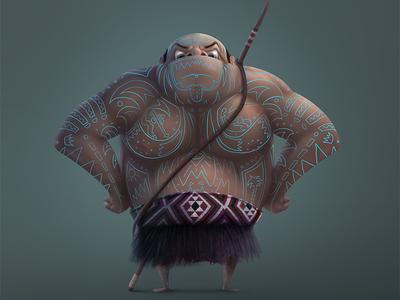 Maori Warrior tattoo character design maori warrior