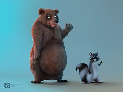 Oso - Mapache raccoon bear mapache oso characters