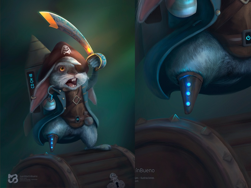 Pirate Rabbit character design illustration sword forest bunny rabbit pirate