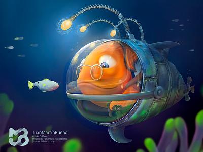 Old Fish character design creación de personajes eyes arte digital dibujo ilustración animals character photoshop