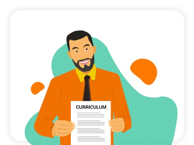 Men holding CV illustration