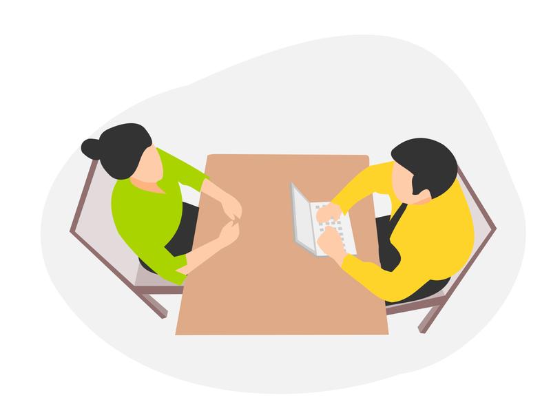 Free Illustrations interview branding app ui mobile design vector illustration free jobs