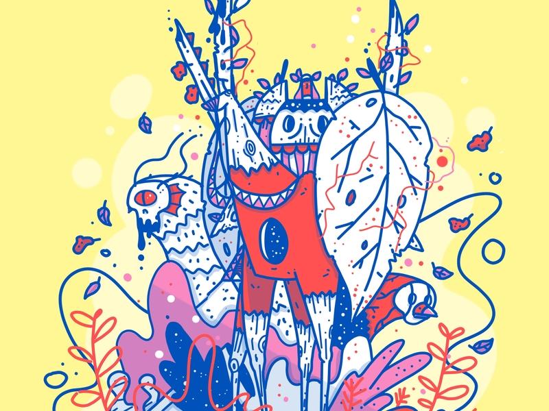 The Knight flower monster sketch knight royal nature procreate app minimal apple pencil outline ipad design characer illustration