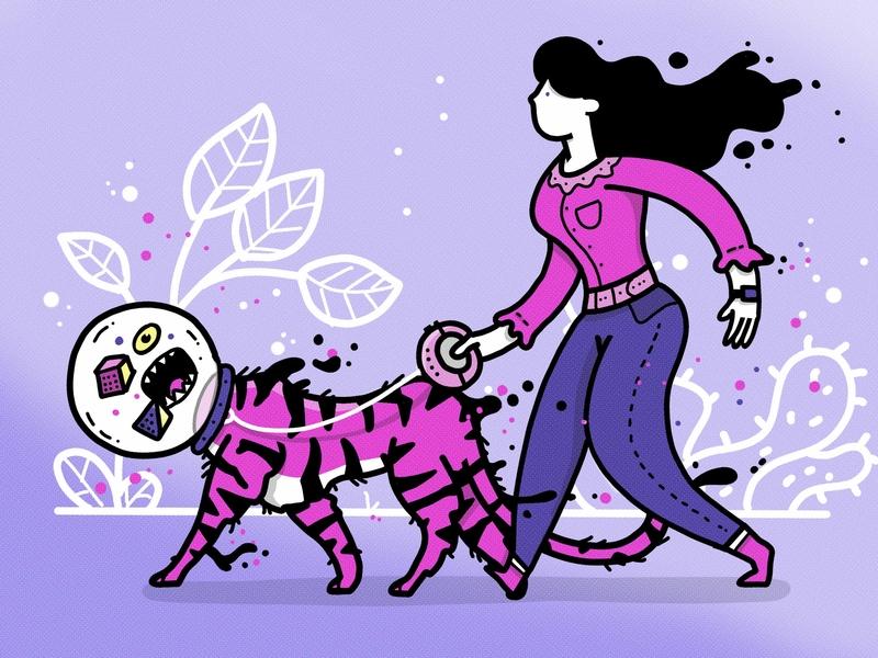 Catwalk flow tiger nature procreate app minimal apple pencil outline ipad design characer illustration cat cat lady catwalk