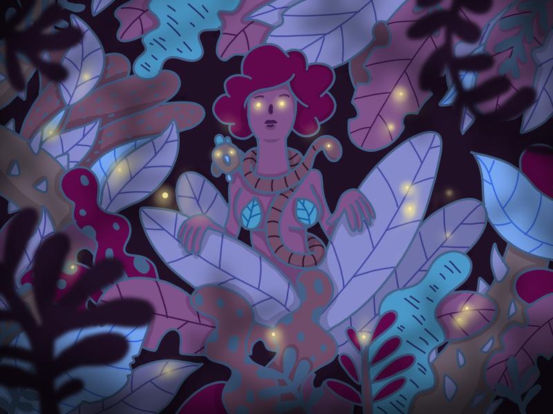 Glow glow woman snake night forest nature procreate app minimal apple pencil ipad outline design characer illustration