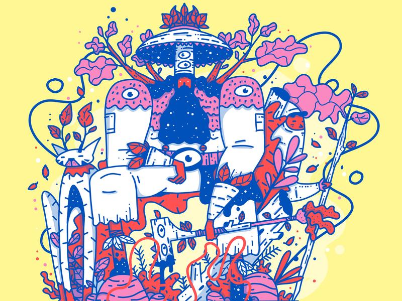 The King cat king forest royal nature procreate app minimal apple pencil outline ipad design characer illustration