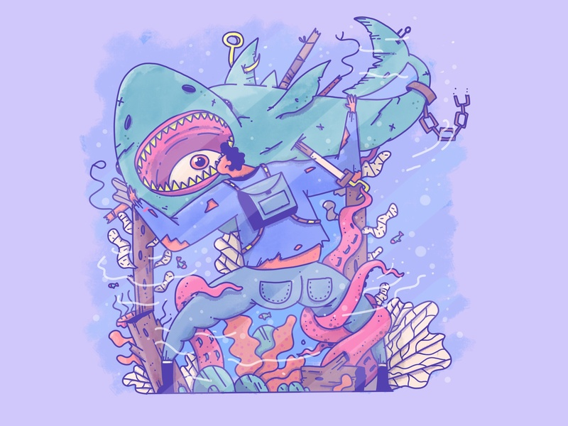 Shark butt fight eye fish shark procreate app minimal apple pencil outline ipad design characer illustration