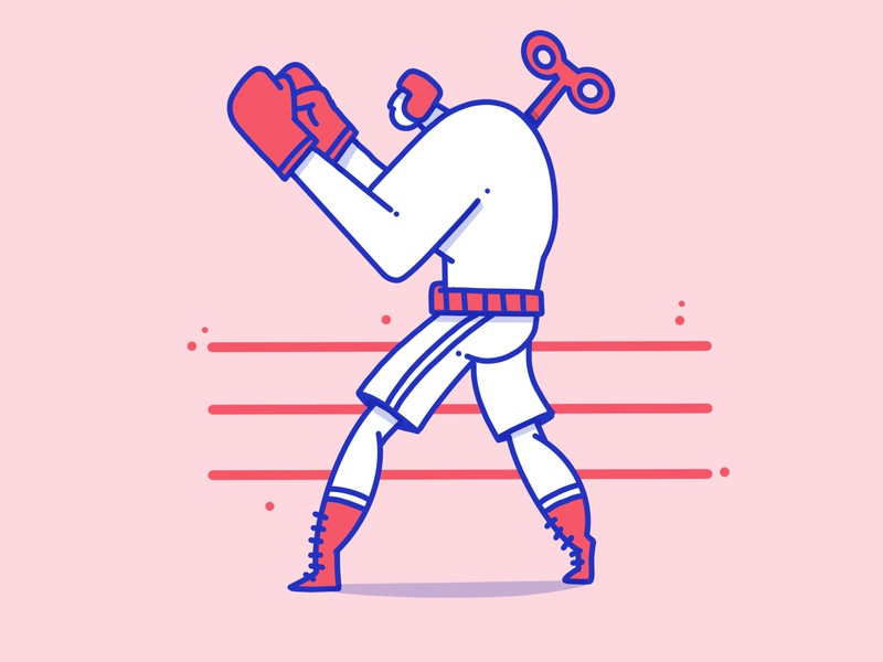 Fighting Machine toy machine ring fighter fight boxer apple pencil characer procreate app minimal ipad outline design illustration