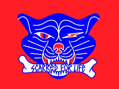 Scarred 4 Life badge icon life illustration scar bone cat