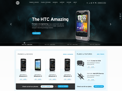 Homepage Design website space blue phones