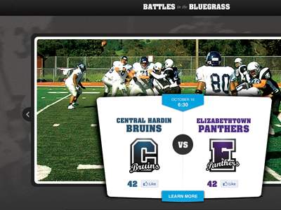 Battles in the Bluegrass football rivalry website feature
