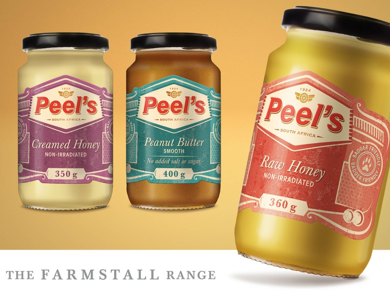 Peel's Honey Upgrade: Farmstall Range raw honey peanut butter vibrant strategy south africa logo packaging design branding honey