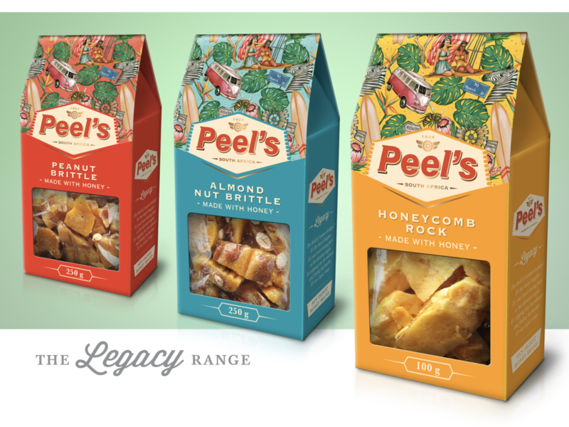 Peel's Honey Upgrade: Legacy Range holiday summer peels legacy nut brittle car badge retro snack pattern illustration vibrant strategy honey south africa packaging design branding