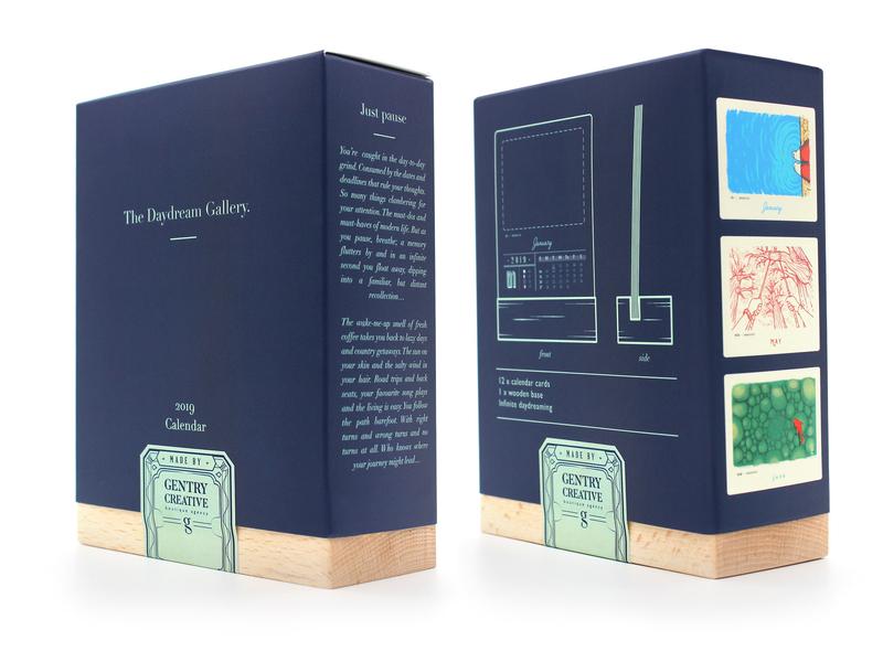 The Daydream Gallery Box gentry grapgic design daydreaming 2019 calendar design calendar 2019 illustration south africa packaging design