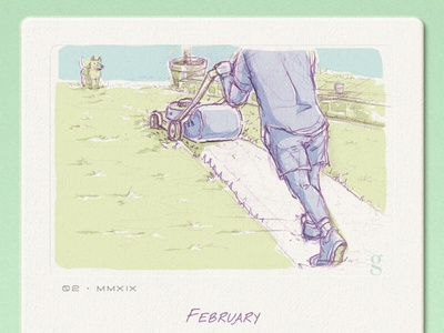 February Daydream card texture february dad mowing doodle sketch calendar design gentry daydreaming calendar 2019 illustration south africa
